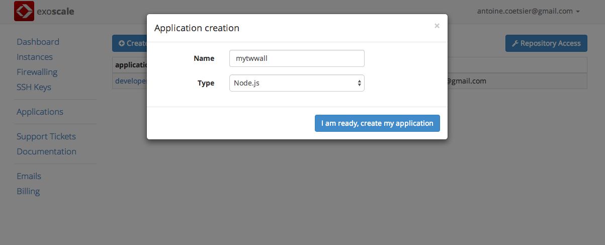create PaaS app on Exoscale