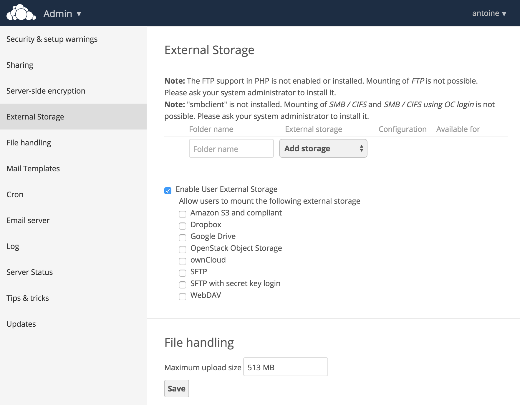 Extend Owncloud With S3 Compatible Storage