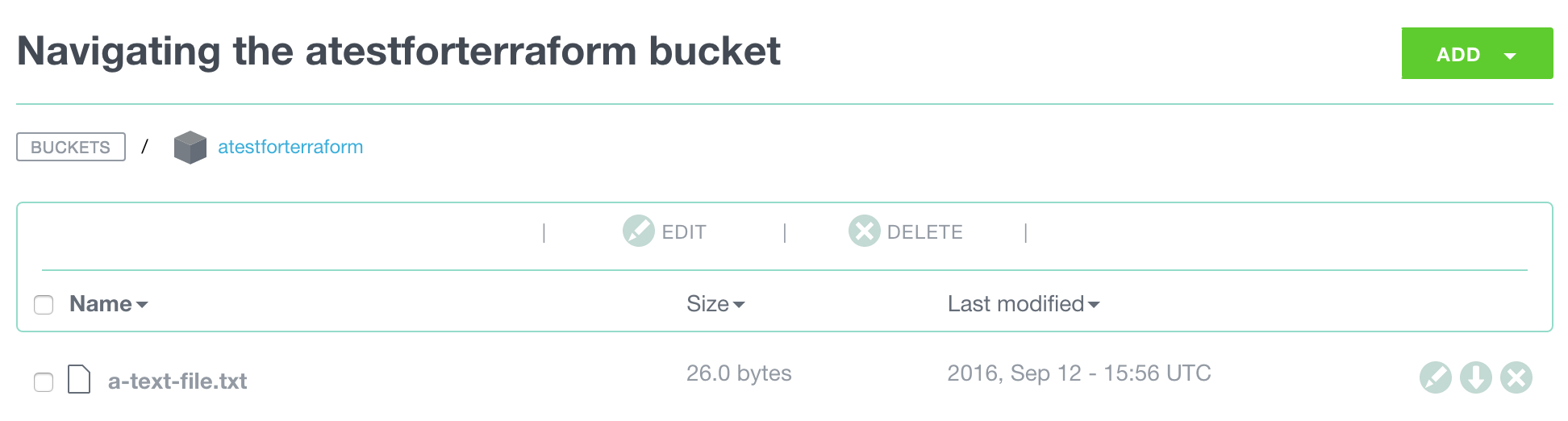 The file now in our object storage bucket