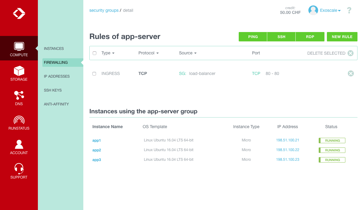 app server security group