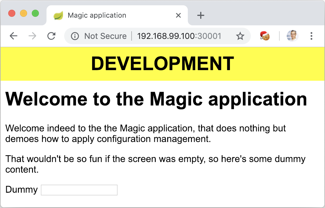 The Magic Application launched with Kubernetes and the env profile
