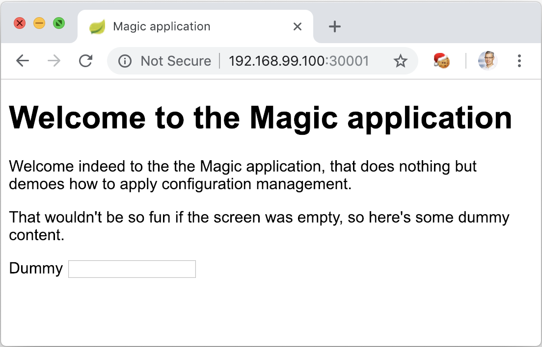 The Magic Application launched with Kubernetes and no further configuration