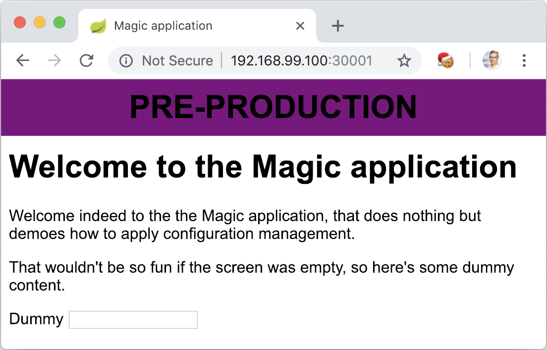 The Magic Application launched with Kubernetes and environment variables